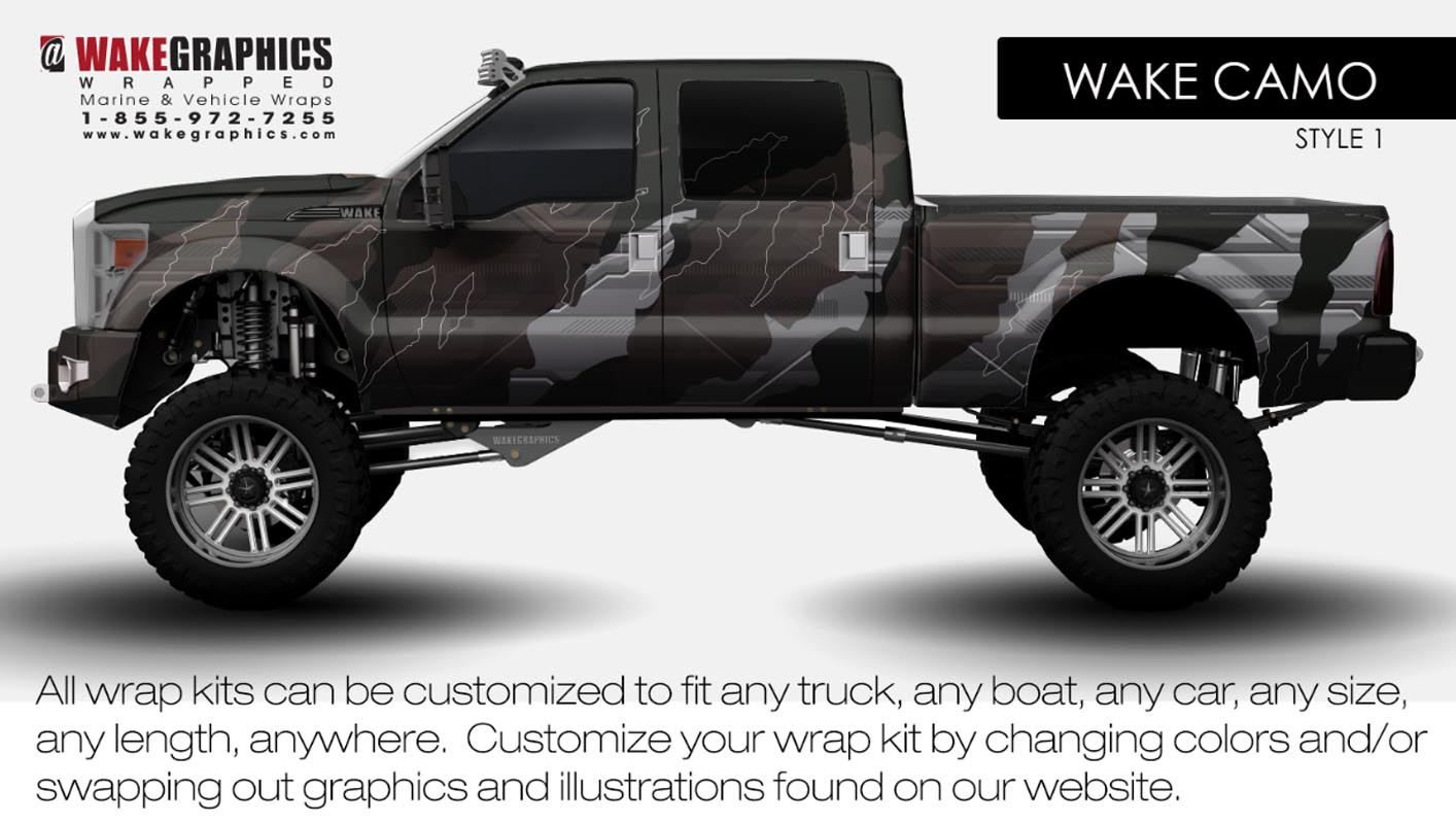 Truck Wraps Kits Vehicle Wraps Wake Graphics - Camo custom vinyl decals for trucks