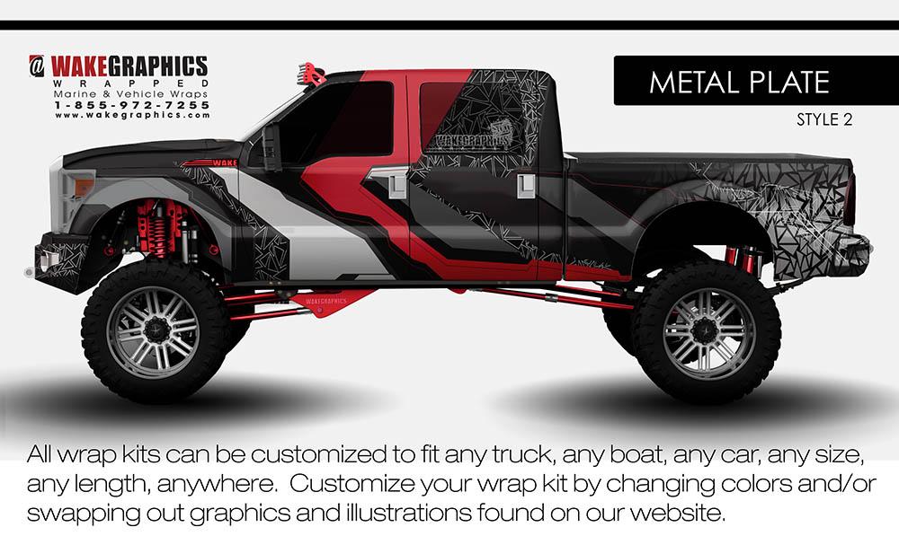 Wakegraphicssuperduty Metalplate Style on Red Dodge Ram 2500 Flatbed